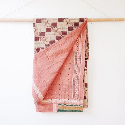 www.littlegreenshedblog.co.uk, pink kantha quilt