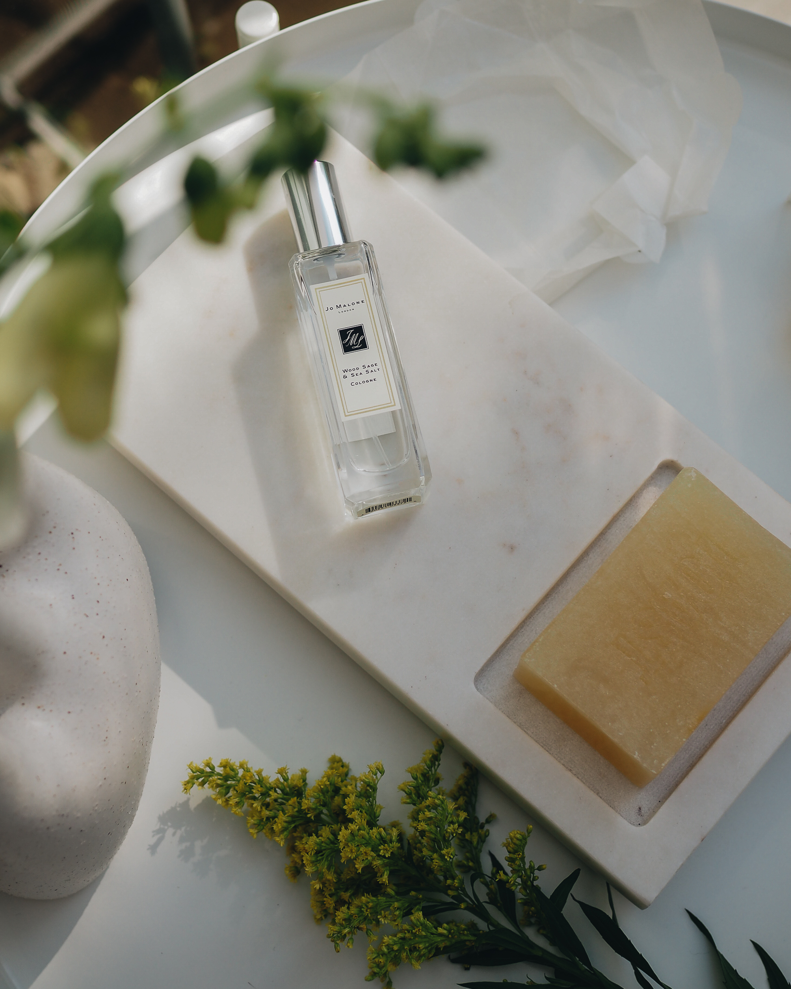 jo malone perfume, toast soap, marble dish
